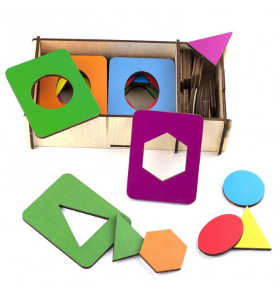 Otroška razvojna igrača deščice Seguin, barvne, set 18 kosov