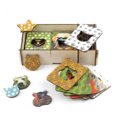 Otroška razvojna igrača deščice Seguin živali, set 18 kosov