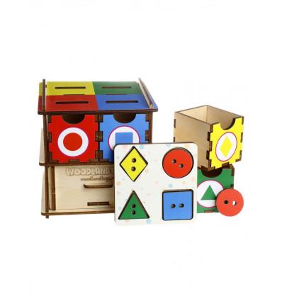 Otroška razvojna igrača Predalnik - kocka za like in barve
